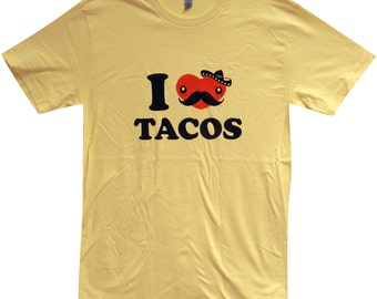Mens TACO T-Shirt - I Love Tacos FUNNY  Shirt - (Sizes s, m,l, xl)