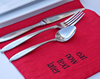 Manners Napkins in RED Linen Napkins Set of 6 Napkins Housewarming Gift Ideas Dinner Napkins Eco Friendly Embroidered Napkins Typography
