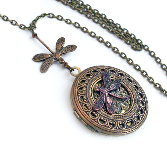 Fly Away - Bronze Filigree Dragonfly Locket Necklace - Round Locket