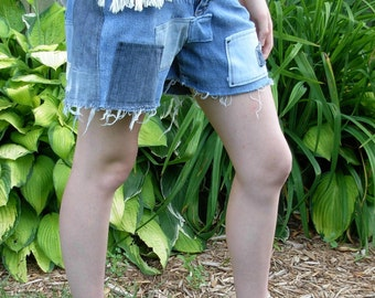 Born again Jean Shorts 4 Upcycled Distressed Hippie Patchwork One of a Kind Denim Shorts 0 2