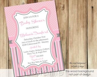 Girl Baby Shower Invitation, Pink + Gray Baby Shower Invitation Girl, Polka Dots Stripes Baby Shower Invitation, Printable Invitation