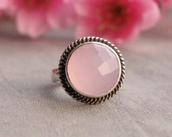 Rose quartz ring, sterling silver ring, Gemstone ring, bezel set ring, pink ring,Artisan ring