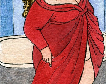 Bath time 5x7 art print Fat Girl BBW