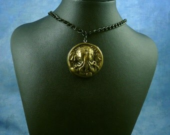 Antique Gold Small Cthulhu Cameo Necklace with Chain, Polymer Clay Fashion Jewelry
