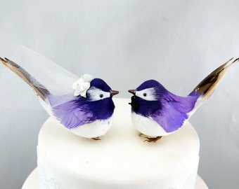 Chipper Chickadee Wedding Cake Topper in Purple: Bride and Groom Woodland Love Bird Cake Topper -- LoveNesting Cake Toppers