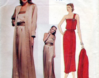 Vogue 2127 1970s  Misses One Shoulder Evening Dress and Coat Pattern CHRISTIAN DIOR  Womens Vintage Sewing Pattern Size 10  Bust 32 UNCUT