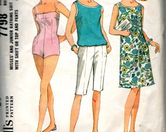 McCalls 7798 1960s Misses Swimsuit Shift Dress Top Knee Length Pants Pattern Womens Vintage Sewing Pattern Size 16 Bust 36 OR 14 Bust 34