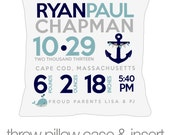 Birth announcement pillow nautical new baby gift custom whale and anchor nautical theme throw pillow