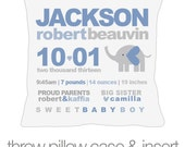 Birth announcement new baby gift custom MOD elephant throw pillow