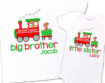 Brother or sister holiday reindeer express matching sibling Tshirt set
