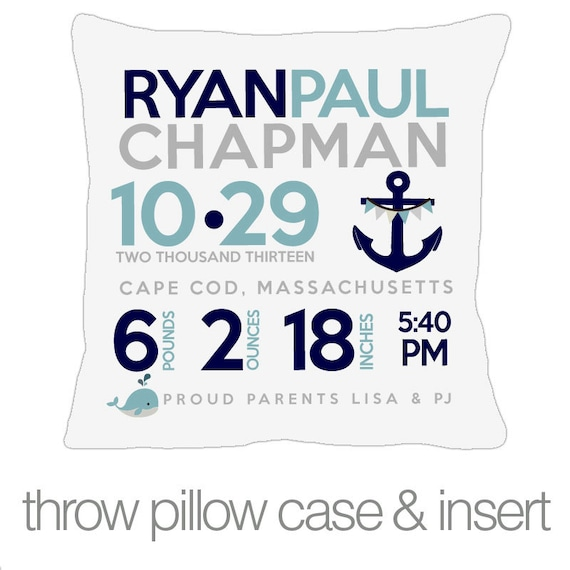 Baby Gift Announcement : Birth announcement pillow nautical new baby gift by zoeysattic
