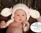 Little Lamb Hat, Newborn Hat, Baby Hat,  Newborn Photo Prop, Baby Lamb Hat, Crochet Baby Hat, Li'l Lamb Hat, Baby Girl Hat, Size Newborn