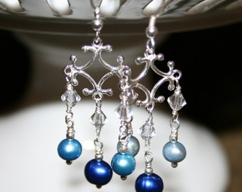 a break in the clouds blue and silver freshwater pearl and sterling silver earrings