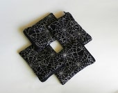 Black and Silver Spider Web Zippered Pouch