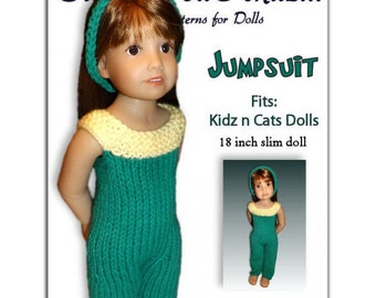 Knitting Pattern fits Kidz n Cats Dolls. Pant Jumpsuit.  Instant Download 453