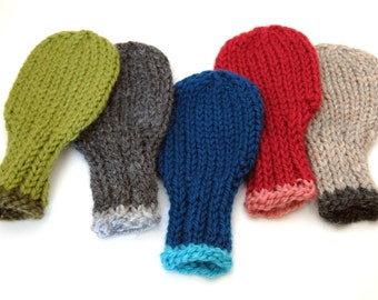 Wool Baby Mittens - Design Your Own, sizes 0 to 18 months, Wool Thumbless Mittens