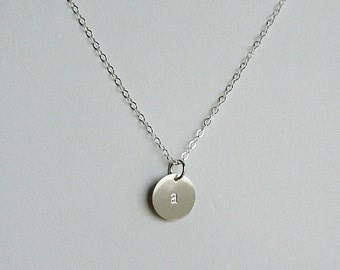 Personalized Necklace, Initial Disc, Sterling Silver, Hand stamped Disc, Charm Necklace, Layering Chain, Mothers Necklace, Gift