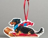 Paper Dachshund Sled Ride Christmas Tree Ornament, Handmade Paper Pet Ornament by Cindy Day