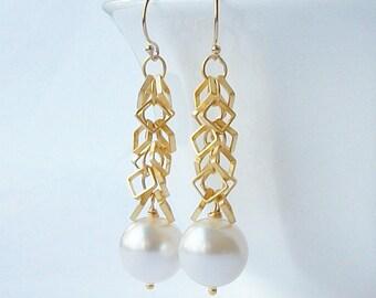 White Pearl Dangle Earrings, Pearl Dangle Drop Earrings
