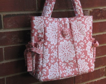On Sale DeaniesDuffles Karys Diaper Bag or Tote in Priscilla Ball and Priscilla Dot in Pink by Riley Blake