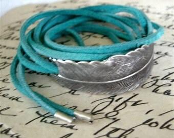 Boho Feather Bracelet, Silver Feather Bracelet,  Suede Wrapped Bracelet, Feather Bracelet,