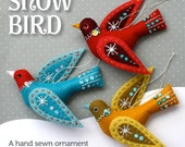 Snow Bird PDF pattern for a hand sewn wool felt ornament