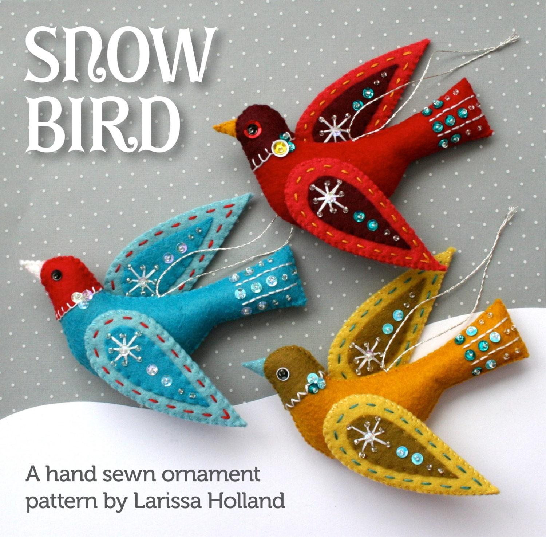 Wool felt ornaments - Snow Bird Pdf Pattern For A Hand Sewn Wool Felt Ornament