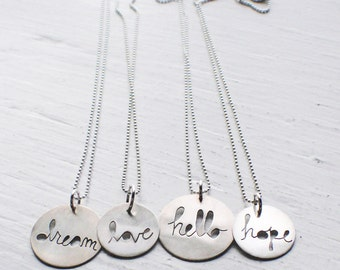 Message to You Inspirational Round Cutout Necklace -Assorted