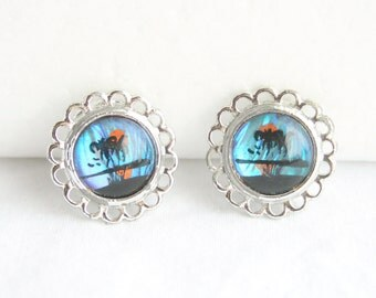 Butterfly Wing Earrings Vintage Bright Blue Reversed Painted Palm Trees Silver Scalloped Circles Clip On