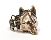 Wolf Mask Ring Wolf Face Ring Bronze Wolf Head Ring Adjustable Filigree Band 059
