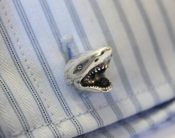 Silver Shark Cufflinks Great White Shark Cuff Links 336
