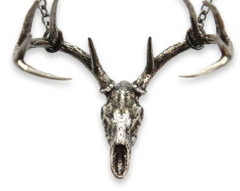 Silver Stag Deer Skull Pendant Necklace in Sterling Plated Solid White Bronze - Antler 311