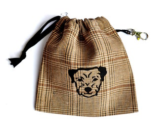 Border Terrier Print  Dog Tidy Pouch on Check Linen
