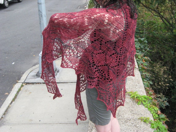 pomegranate lace shawl in wool rayon and silk