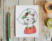 butterfly & ladybug postcard, spring girl illustration