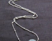 Labradorite Necklace with White Topaz on Sterling Silver Station Chain