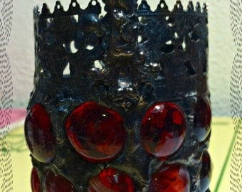 Red Victorian Gothic Cross Footed Mosaic Stained Glass Luminaire Candle Holder