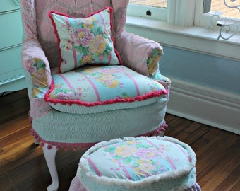 custom order Shabby Chic Slipcovered Wingback Chair in Vintage Sea foam Green and Pink Chenille