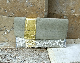 Mini Leather Clutch, Blue Grey Leather, Italian Gold Leather and Lace Overlay