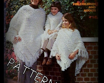 Crochet Poncho Pattern - Fisherman Aran Design - Adult & Children Sizes - PDF 020937 - Instant Download