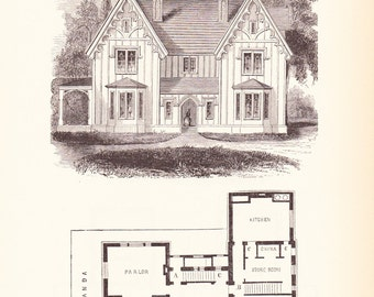 1885 Architecture Print - House Blueprint - Vintage Antique Art Illustration Interior Design Great for Framing 100 Years Old
