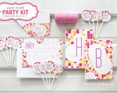 The PARTY KIT - SPA Birthday Party Kit for 12: Invitations, Banner, Favor Bag Toppers, Cupcake Picks & Straws >> shipped to you <<