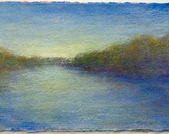 """Landscape Painting Dusk on the Rogue River 4"""" x 6"""" oil on paper by Victoria Veedell"""