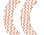 Peach Chevron Cupcake Wrappers