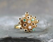 Vintage Emerald & Diamond Ring - 14K Yellow Gold - Cluster Ring - Statement Ring - Cocktail Ring - May Birthstone