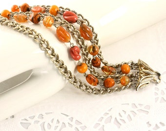 Coro Signed Multi Strand Bracelet - Vintage 50s Art Glass Orange Beads - Hey Viv Vintage