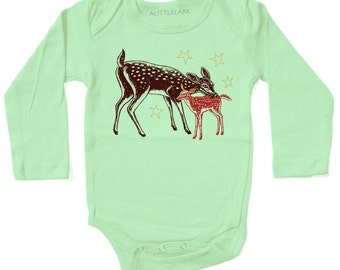 Sale Baby Fawn Deer Bodysuit, gold glitter stars, Infant gift, long sleeve light green, cute animal winter tundra print