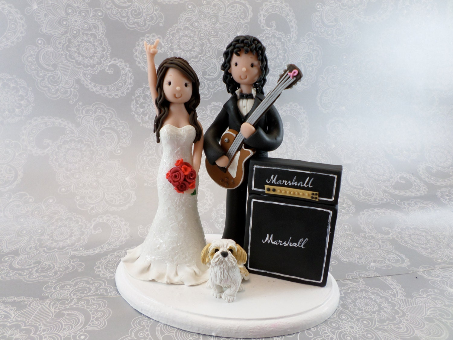 wedding cake topper man with guitar amp groom with guitar and marshall amp custom handmade 26352