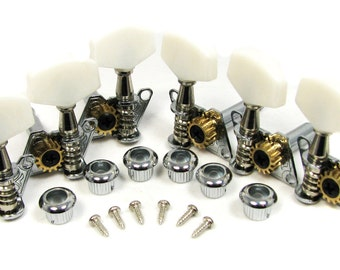 6-pack Open-Gear Economy Tuners/Machine Heads - 3 Left/3 Right - Perfect for Cigar Box Guitars & Other Homemade Instruments