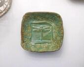 Dragonfly Bowl - Soap Dish - Sponge Holder w feet Green Handmade Pottery